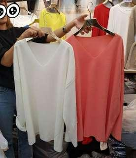 🚚 ⭐出清粉色一件⭐韓國 領子不修邊糖果長版衣