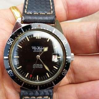 中古60年代自動皮潛,瀝㗎面,紅日曆,特色針,38mm,vintage cler watch skin diver