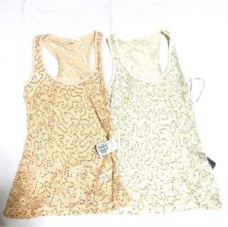 F21 lace with sequins tank top