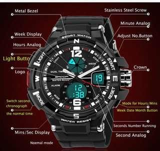 Sanda Men Full Feature Dual Time Sport Watch (Buy1 Take1)