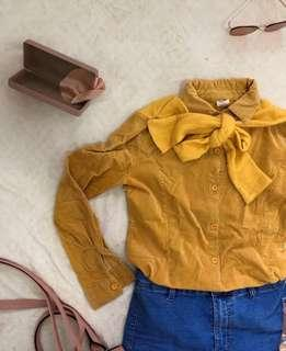 Yellow Corduroy With Ribbon Detail