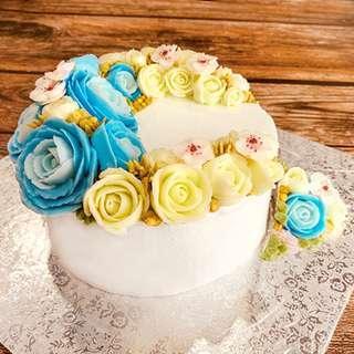 Korean Cream Flower Cake