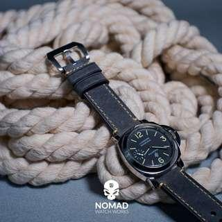 🚚 Premium M1 Vintage Leather Strap in Grey with Silver Buckle