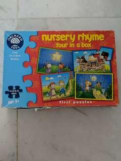Preloved orchard toys nursery rhyme four in a box puzzle