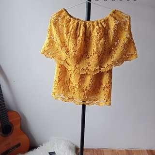 Yellow Lace Off-Shoulder