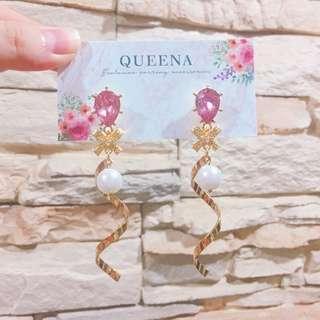 🚚 少女💗粉鑽珍珠耳環💎