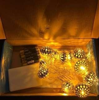 ANSIO WARM WHITE LED METAL BALL 12 LIGHTS XMAS DECORATION