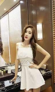 吊帶白色裙