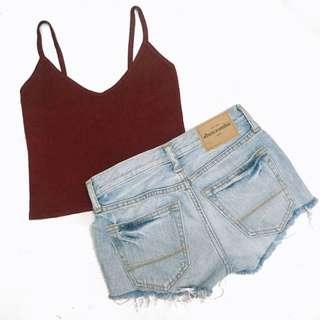 V neck knitted maroon sleeveless crop top