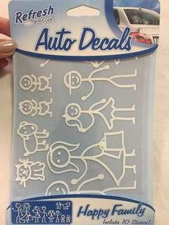 REFRESH AUTO DECALS - 10 car stickers - happy family