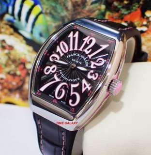 Brand New FRANCK MULLER Vanguard Stainless Steel Automatic Ladies 32mm Black Dial Pink line watch. Swiss Made. Model reference V32.SC.AT.FO.AC.RS