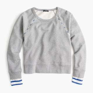 全新 J.Crew Cropped Stripe-trimmed Sweatshirt 灰色上衣