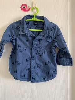 🚚 Baby gap 藍色麋鹿帥氣襯衫