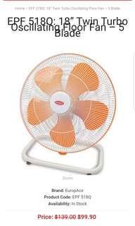 "18"" Twin Turbo Oscillating Floor Fan"
