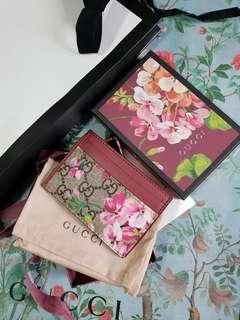 Auth Gucci blossom card holder pink