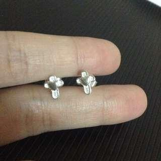Genuine 925 Silver Simple Cross with Heart center Stud Earrings