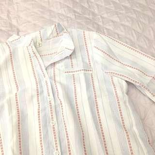 Pinstripe Button Down Shirt Blouse