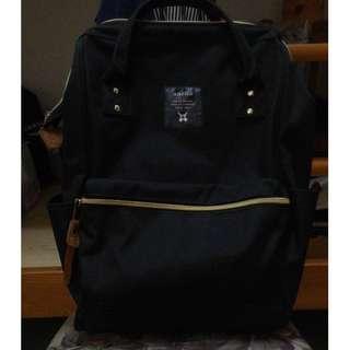 【日本正版anello】經典口金後背包《黑色》M尺寸 近全新