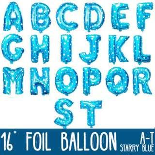 🌟 Starry Blue Foil Balloon - 16 inches (A to Z, 0 to 9) 🌟