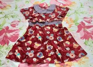 Preloved dress anak batik keris fashion ori