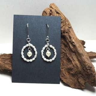 Freshwater , Swarovski pearls, handmade round earrings with silver tone tarnish resistant wires #1212
