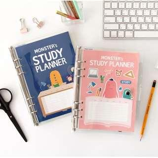 PO Monster Cute Graphic Study Planner Ring Notebook Note Book Exam Plan Student 2 Colours