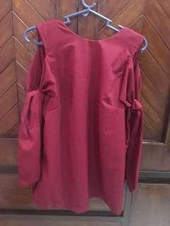 RED OFF-SHOULDER BLOUSE MADE IN THAILAND