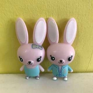 🚚 Rabbit Figurine Figure Terrarium Animal Pair Cake Topper Toy