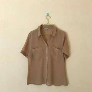 chiffon brown top