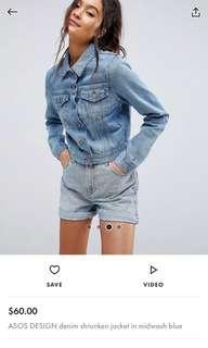 Denim shrunken jacket Mideast blue