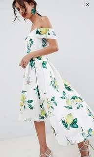 Lemon print Bardot cold shoulder midi prom dress scuba foam