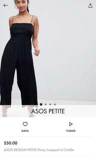 Petite crinkle jumpsuit black culotte wide leg