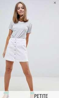 Petite denim white button down skirt