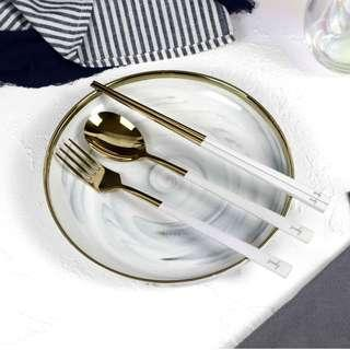 🚚 Personalised Cutlery (Set of 3) - White & Gold