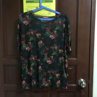 Plus Size See-thru Floral Top