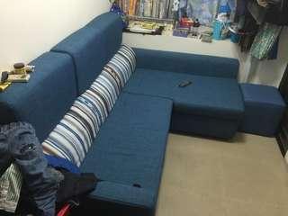 L型布沙發(含多一套沙發套)免費送,但自行搬運!