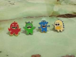 🚚 [WTT/WTS] Brand New NLB Monsters United Collar Pins. Very Cute Mascots: Rooky, Zecky, Hutsy N Camy.Esp for Collar Pins Collectors..Looking for Ikea pins, myth master pins, pokemon merchanise. In Original Packaging.  See All Pics.