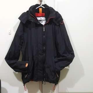 🚚 極度乾燥superdry風衣外套三拉鍊款紅黑 女XL男L