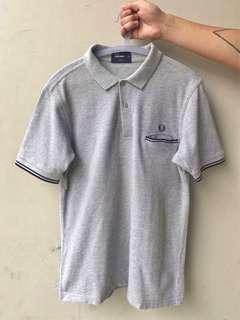 Fred Perry Slim Fit Short Sleeves Collated Shirt in Grey