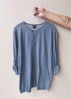 H&M Rollable Cotton Long Sleeves Shirt in Grey