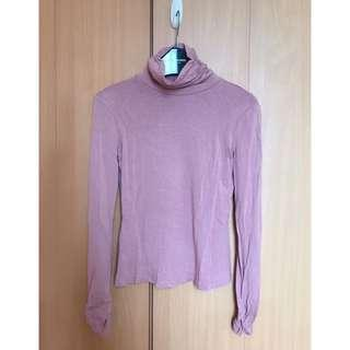 beautiful soft warm pink silm fit blouse top 靚暖粉色顯白企領收身長袖襯衫