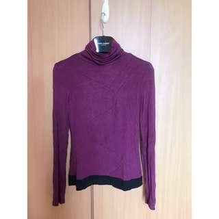D2 beautiful purple red silm fit blouse top 品牌設計靚色顯紫紅色企領收身長袖襯衫