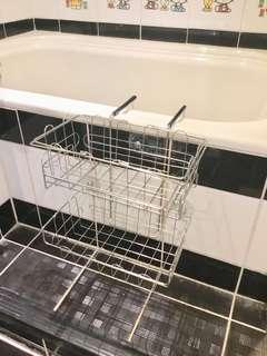 不鏽鋼 浴室浴缸架 浴缸二層玩具架 上層籃可拿起