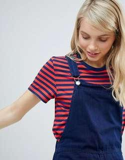 Monki red & blue striped tee