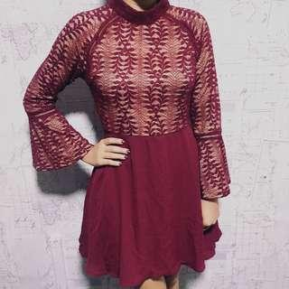 BN Zalora Burgundy Lace Dress