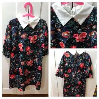 (Used) Floral Dress with woven Collar 白色領花花裙