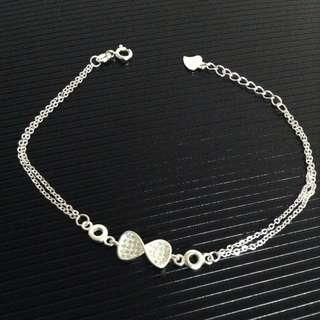 Genuine 925 Silver Ribbon Bow Tie w/ Gem Stones Duo Chain Bracelet