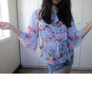Beautiful Floral Tie Flowy Blouse