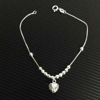 Genuine 925 Silver Shimmering Heart & Balls Bracelet