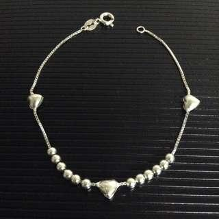 Genuine 925 Silver Hearts and Balls Bracelet